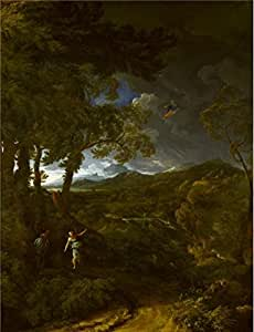 'Gaspard Dughet - Landscape with Elijah and the Angel,about 1663' oil painting, 18x24 inch / 46x60 cm ,printed on Cotton Canvas ,this Best Price Art Decorative Prints on Canvas is perfectly suitalbe for Bar artwork and Home artwork and Gifts