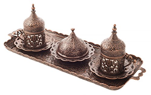 MisterCopper New Spur Turkish Greek Arabic Coffee Espresso Serving Set for 2,Cups Saucers Lids Tray Delight Sugar Dish 11pc (Copper)