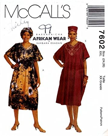 Amazon.com: McCall\'s 7602 Sewing Pattern African Caftan Headwrap Hat ...