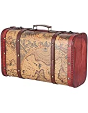 Storage Chest, Treasure Chest Composite Wood Large Capacity Map Pattern for Window Display for Shooting Props for Decoration for Home Storage