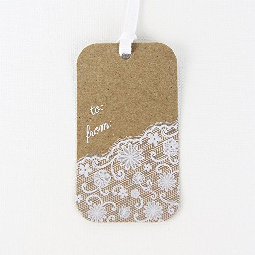 ft Tags, Bottle Tags, Baby Shower Tags, Wedding Favor Tags (12, To From Lace) (Lace Gift Tag)