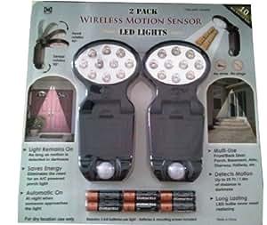 2 Pack: Wireless Motion Sensor LED Lights ~ 10 Wide Area LED Bulbs