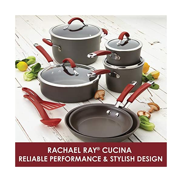 Rachael Ray Cucina Hard Anodized Nonstick Cookware Pots and Pans Set, 12 Piece, Gray with Red Handles 6