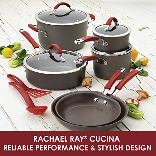 Rachael Ray Cucina Hard-Anodized Nonstick Skillet with Helper Handle, 14-Inch, Gray/Cranberry Red