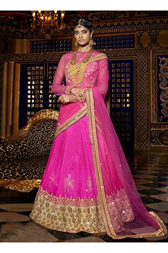 IWS Indian Women Designer Wedding Pink Lehenga Choli R-15958