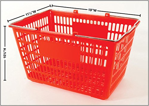 12 Basket Set Shopping Baskets Red Finish Jumbo-size, Heavy-duty, Basket