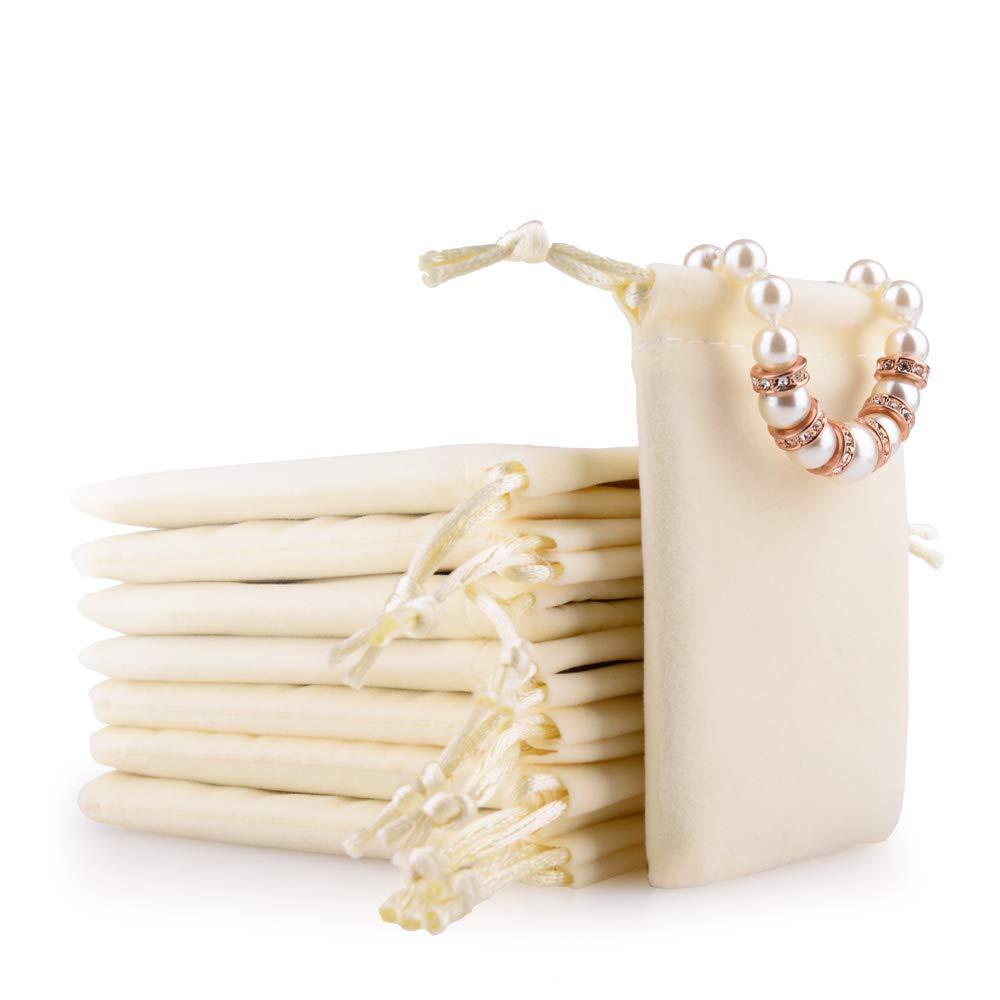 Oirlv 50pcs / lot Velours Bijoux Pochettes Sacs-cadeaux avec des sacs de bonbons de corde coréenne (Crémeux-blanc) D002