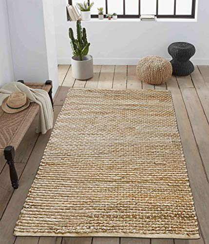 Woven Jute Braided Area Rug Runner- Rustic Vintage Natural Rug for Entryway Living Room Bedroom (3'x5')