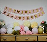 Baby Shower Decorations BABY SHOWER & ITS A GIRL Garland Bunting Banner Tissue Paper Flower Pom Poms Paper Lanterns Paper Honeycomb Balls Pink/White/Gold/Cream Party Decoration Nursery Room Decor