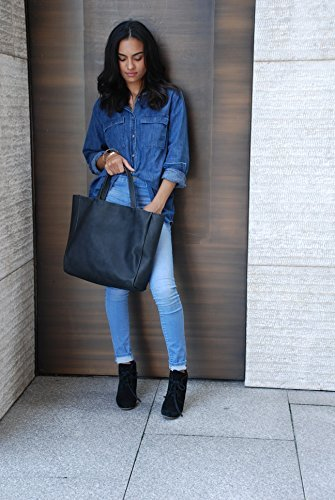 BLACK LEATHER TOTE / SHOPPER by NKHenry