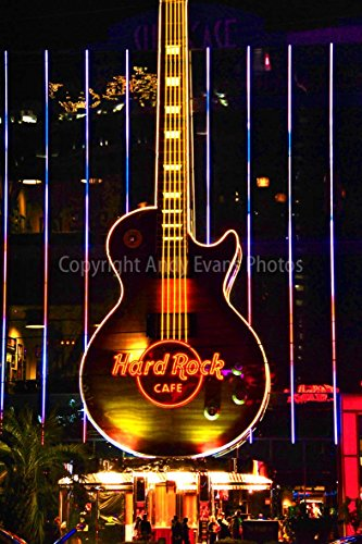 Hard Rock Cafe Photograph a Photographic Print of a The Hard Rock Cafe neon Guitar Sign at Night in Las Vegas Nevada America USA Portrait Photo Color Picture fine Art Print Poster (16