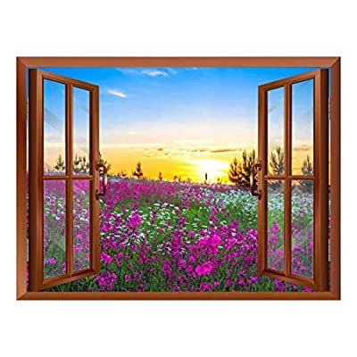 Gorgeous Object of Art, That's 100% USA Made, Beautiful Summer Sunrise Over a Blossoming Meadow Removable Wall Sticker Wall Mural