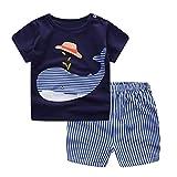 Clearance Sale!OverDose Newborn Infant Baby Girls Boys Outfits Cartoon Whale T-Shirt + Shorts 2PCS Set