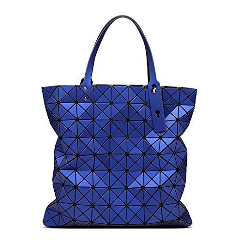 Female Folding Coffee Women Plaid Geometric Blue Bags Ladies Bags 9 Tote Print Evening 9 Large Bag Designer Bags Laser Handbags wYnWUxzY0