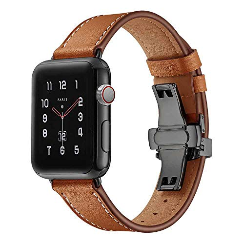 Replacement Black Butterfly buckle Leather Wrist Watch Strap Band For Apple Watch 4 40mm (Apple Watch 4 44mm, Brown)