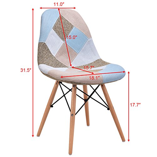 Giantex Linen Fabric Accent Dining Chairs Set of 2 Modern DSW Style Upholstered Leisure Chair Mid Century Chairs Armless Living Room Chair, 2 PCS by Giantex (Image #2)