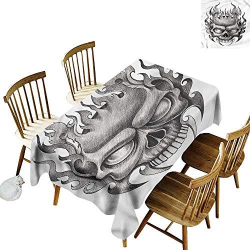 Tim1Beve Tablecloth Tattoo Horror Themed Skull Figure Modern Minimalist 60