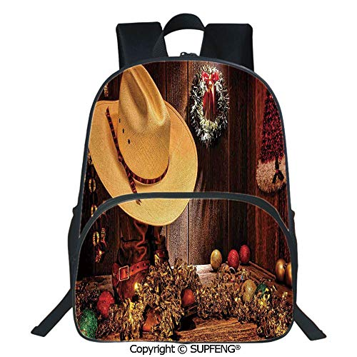 SCOXIXI Laptop Backpack Farmhouse with Christmas Decorations with Wreath Americana Style Image Print (15.75