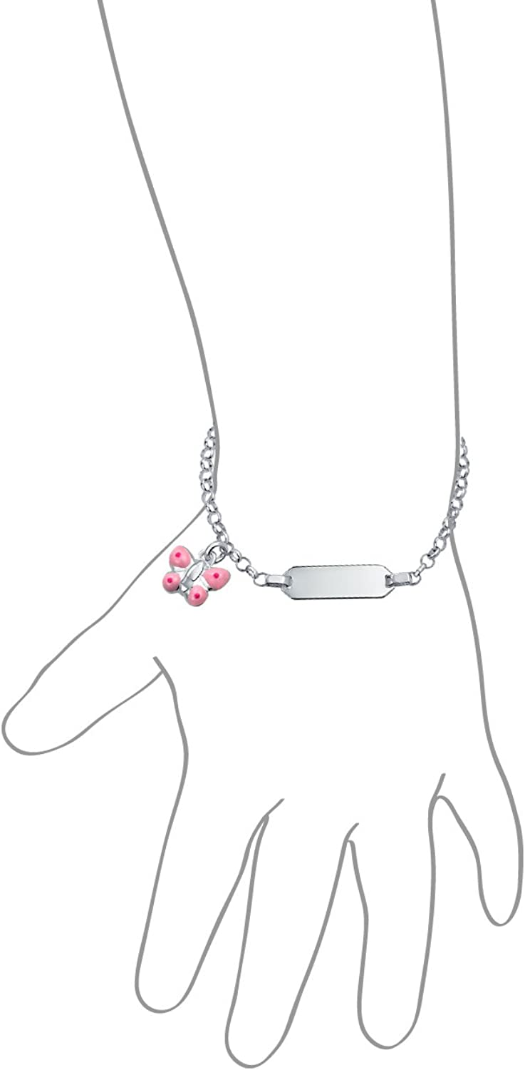 Personalized Dainty ID Tag Bracelet Engravable Butterfly Charm Dangle 925 Sterling Silver Pink For Small Wrists 5 Inch