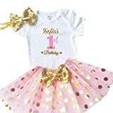Funmunchkins Personalized Baby Girls 1st Birthday Outfit, Sparkly Gold Glittering Font Design with Tutu (9M)