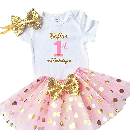 Funmunchkins Personalized Baby Girls 1st Birthday Outfit, Sparkly Gold Glittering Font Design with Tutu (18M) ()