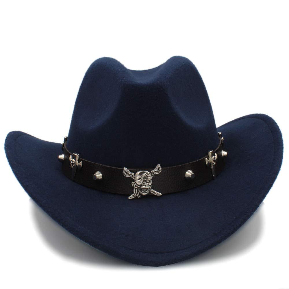 Sombrero de moda Lei ZE Jun UK- Unisex Warm Fedora Cómodo Hat Gorra Ecuestre Cómodo Fedora Dakota Dakota Crushable Wool Hat Felt Western Cowboy Casual Hat (Color : Azul Oscuro, tamaño : 56-58cm) fbaa25