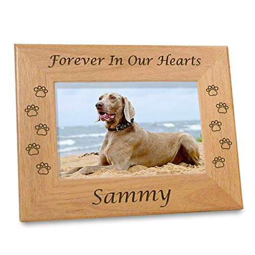 "Etched In My Heart Pet Memory Frame Personalized Dog Memorial Gifts (4x6 Photo) w/ ""Paw Prints"" Custom Message on Rustic Alder Wood for Loving Memorabilia Picture of Deceased & RIP (6x8 Size)"