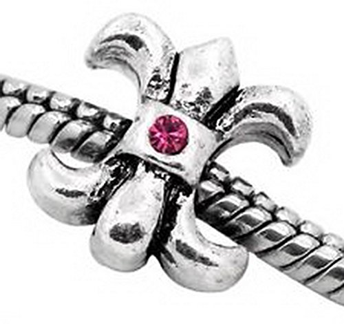 Craft Spot Global Fleur-De-Lis Symbol Pink Rhinestone Bead fits Silver European Charm Bracelets CSG # 104346