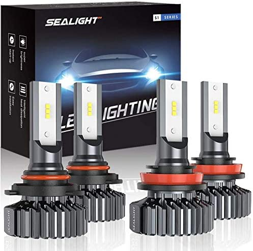 SEALIGHT 9005/HB3 H8/H11 LED Headlight Bulbs, 13000LM High Low Beam, Combo Package CSP Led Chips Hi/Lo lighting - 6000K Xenon White