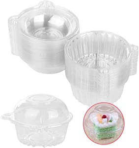 50 Pcs Clear Plastic Individual Single Cupcake Containers,Muffin Dome Holders Cases Boxes Cups Pods,Clamshell Cupcake Holders for Party Favor Cake,Muffin,Salad