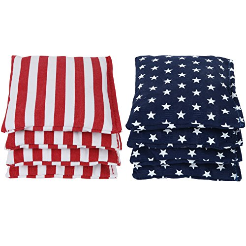 Make Bean Bag Toss Game - Weather Resistant Cornhole Bags (Set of 8) by SC Cornhole:: Choose Your Colors (Stars/Stripes)