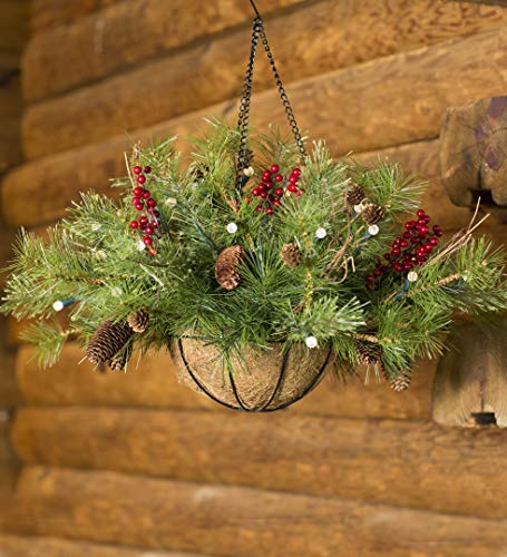 Plow & Hearth Lighted Outdoor Battery-Operated Holiday Hanging Basket with Auto Timer (Baskets Lighted Hanging)