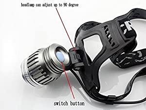 WindFire®Cree Xm-l Xm-L2 2000 Lumens 3 Modes Headlamp T6 LED Headlight Outdoor Sport Headlamp 18650 Rechargeable Battery Super Headlight Lamp Torch Flashlight with Charger LED Headlamp for Outdoor Riding, Camping, Climbing (Batteries not included)