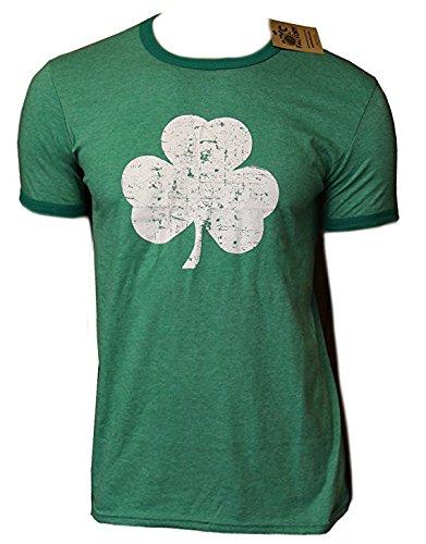 Retro Style Shamrock T-shirt Ringer Distressed Vintage Green Irish St Patrick,Large,Green -