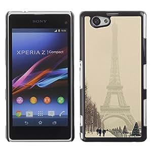Be Good Phone Accessory // Dura Cáscara cubierta Protectora Caso Carcasa Funda de Protección para Sony Xperia Z1 Compact D5503 // Winter Eifel Tower Pastel City Romantic