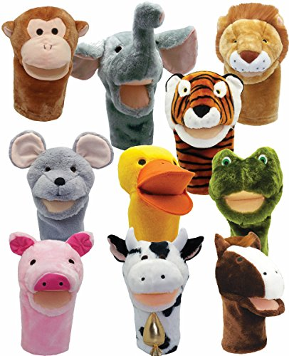 Get Ready Kids Bigmouth Animal Puppets, Set of 10 Big Mouth Animal Puppets