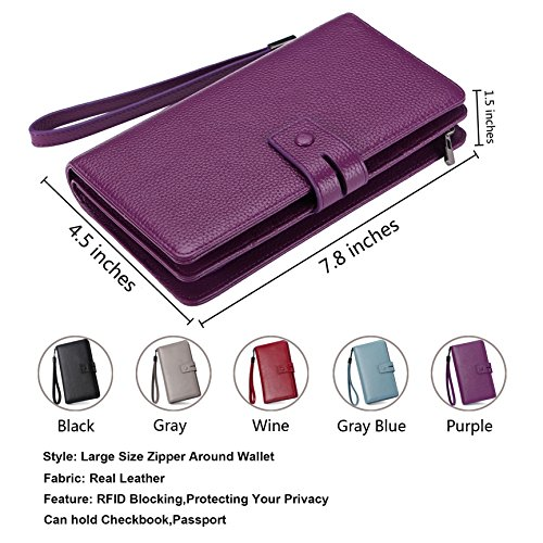 AINIMOER Women's Big RFID Blocking Leather Zip Around Wallets for Womens Clutch Organizer Checkbook Holder Large Travel Purse(Lichee Purple) by AINIMOER (Image #2)