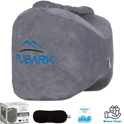 Rubark Orthopedic Knee Pillow for Side Sleepers - Back, Hip, Sciatica, Ankle, Joint, Knee Pain Relief - Memory Foam Wedge Contour Pillow with Adjustable Strap (Bonus Cover, Sleeping Mask, Ear Plugs)
