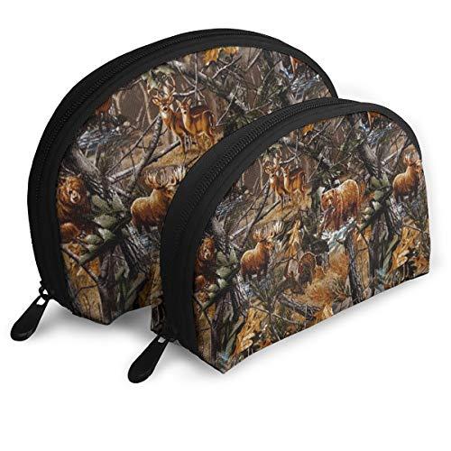 Cosmetic Bag Camo Hunting Deer Bear Moose Turkey Duck Travel Makeup Pencil Pen Case Multifunction Storage Portable - 2 Piece Set