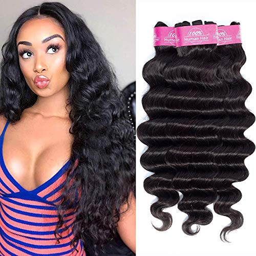 FQ Brazilian Loose Deep Wave Human Hair 3 Bundles(14