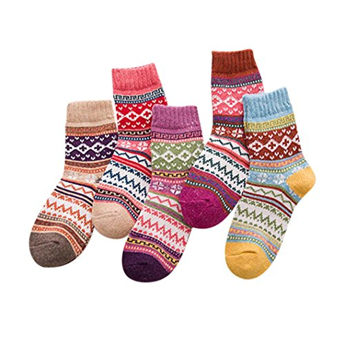 Forthery Socks, Women 5Pairs Solid Thick Wool Winter Warm Crew Slipper Home Socks (A)