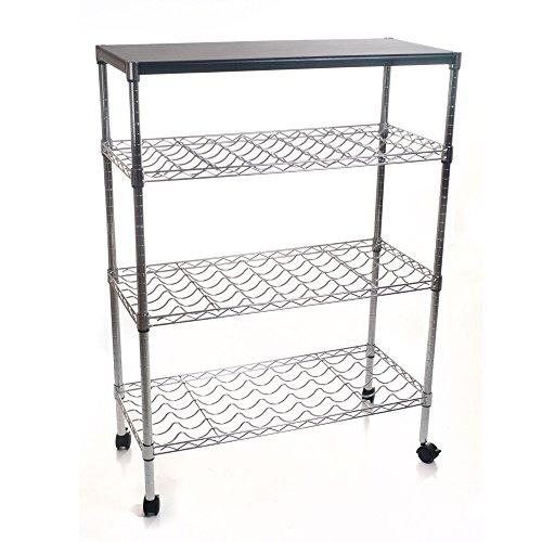 (Lavish Home Rolling Chrome Wine Rack Cart Portable Bar)
