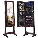 SONGMICS 6 LEDs Mirror Jewelry Cabinet Armoire