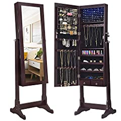 """Specifications: Color: Brown jewelry cabinet material: medium density fiberboard, velvet, glass Simple assembly: Yes Product size: 60. 1""""H x 16. 1""""W x 14. 1""""D (152. 5 x 41 x 36 cm) Armoire size: 47. 3""""H x 14. 1""""W x 3. 6""""D (120 x 36 x 9. 3 cm)..."""