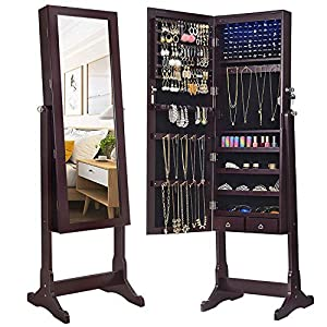 picture of SONGMICS 6 LEDs Mirror Jewelry Cabinet Armoire, Lockable Free Standing Jewelry Organizer, Large Capacity with 2 Drawers, Dark Brown UJJC94K