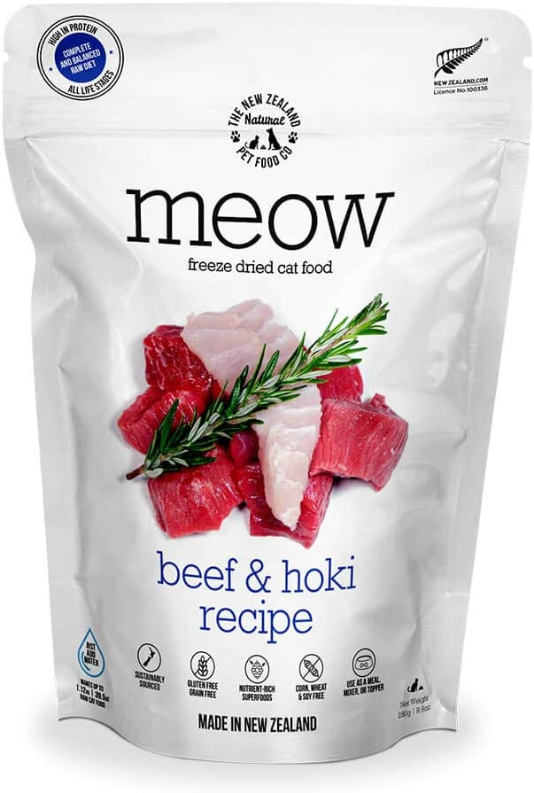 The New Zealand Natural Pet Food Co. Meow Beef & Hoki Freeze Dried Raw Cat Food, Mixer, or Topper - High Protein, Natural, Limited Ingredient Recipe 9 oz, Brown (NZ-MFD280BH)