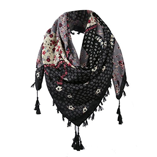 Kimloog Women's Mixed Pattern & Colors Square Wrap Scarf Boho Floral Print Tassel Shawl Scarf Neckerchief