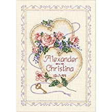 "United Hearts Wedding Record Mini Counted Cross Stitch Kit-5""X7"" 14 Count/ Sold as a pack of 1"