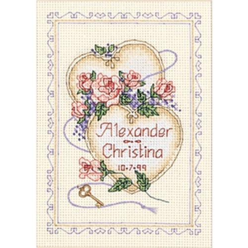 "Dimensions - United Hearts Wedding Record Mini Counted Cross Stitch Kit - 5""X7"" -  6730"