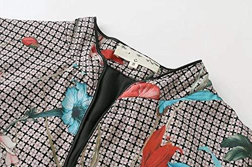 Mujeres Chaqueta De Blazer Knotbuckle Abrigos Impresión Abrigo Floral Collar Tela Cuerda La Escocesa Mujer Traje Corto Soporte Wjmm HFfqdwq